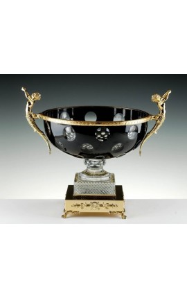 "Crystal bowl doubled black with bronze ornaments ""Pompeia"""