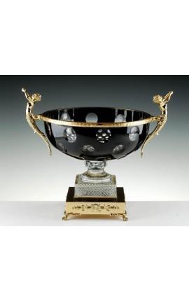 """Coupe en cristal doublé noir avec ornements en bronze """"Pompeia"""""""