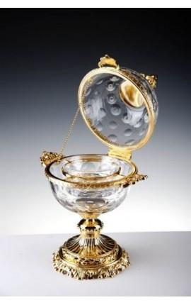 Cave à caviar en cristal et en bronze