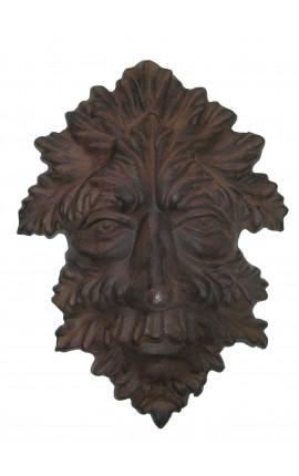 """Plaque décorative murale en fonte de fer """"Masque d'automne"""""""