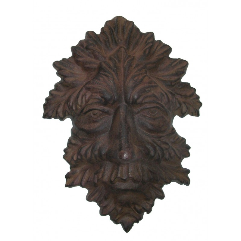 Plaque d corative murale en fonte de fer masque d 39 automne for Plaque decorative murale