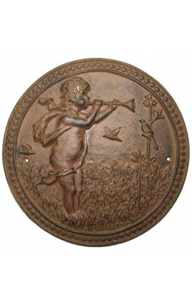 "Wall decorative plate cast iron ""The cherub hunting"""