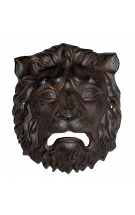 """Plaque décorative murale en fonte de fer """"Masque tête de lion"""""""