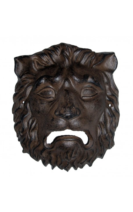 plaque d corative murale en fonte de fer masque t te de lion. Black Bedroom Furniture Sets. Home Design Ideas