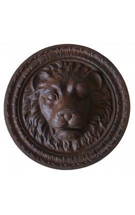 """Plaque décorative murale en fonte de fer """"Tête de lion"""""""