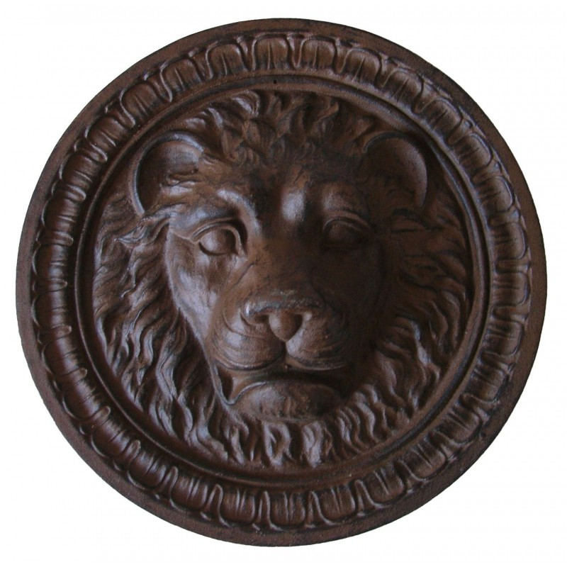 plaque d corative murale en fonte de fer t te de lion. Black Bedroom Furniture Sets. Home Design Ideas