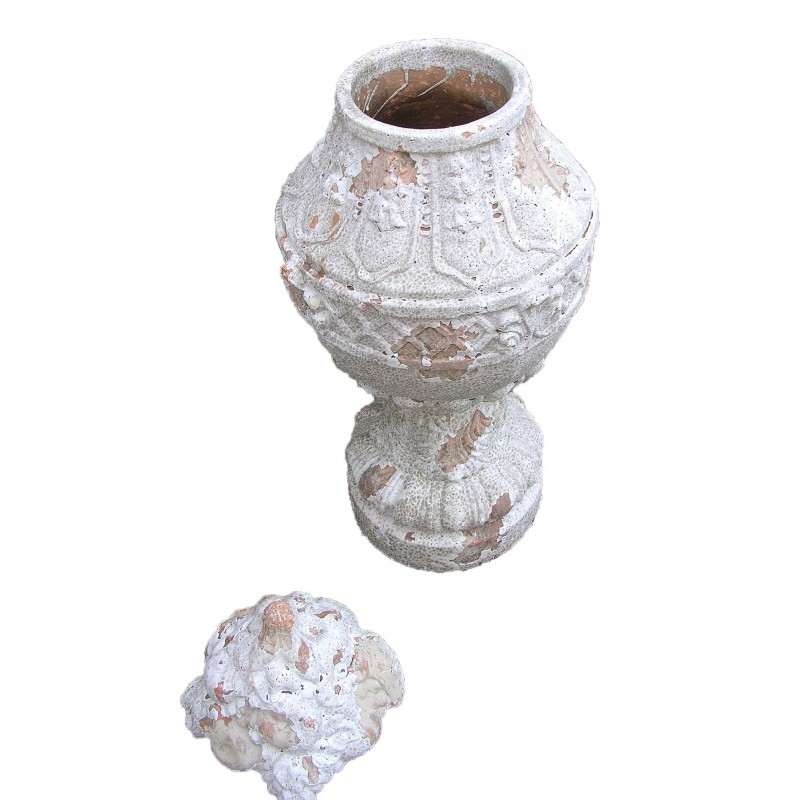 Large Terracotta Vase With Cap With A Beautiful Garland In