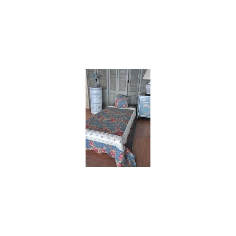 Jet de lit en boutis bleu et roses 220 x 160 - Jete de lit bleu ...