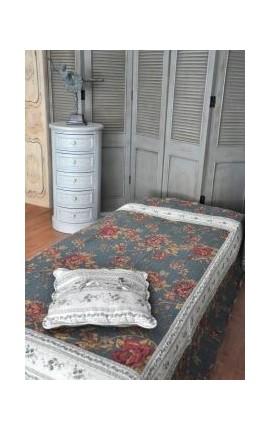 """Jeté de lit en Boutis """"Bleu et roses"""" 220 x 160"""