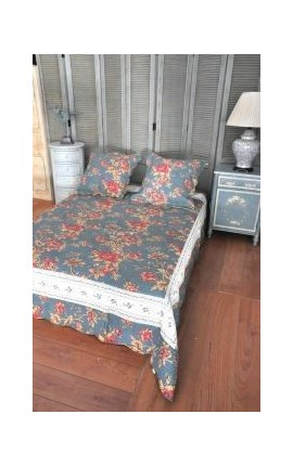 "Bedspread ""Blue and roses"" for 2 person"