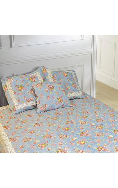 """Jeté de lit en Boutis """"Bleu et roses Anglaises"""" 240 x 220"""