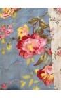 """Jeté de lit en Boutis """"Bleu et roses Anglaises"""" 240 x 260"""