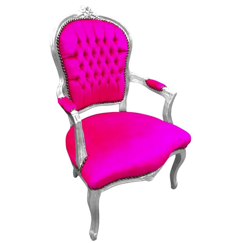 Fauteuil baroque de style louis xv rose fuchsia et bois argent - Fauteuil rose fushia ...