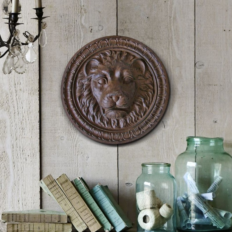 Decorative ornemental plate cast iron lion head - Plaque decorative murale ...