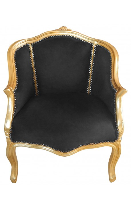 Bergere armchair Louis XV style black velvet and gold wood