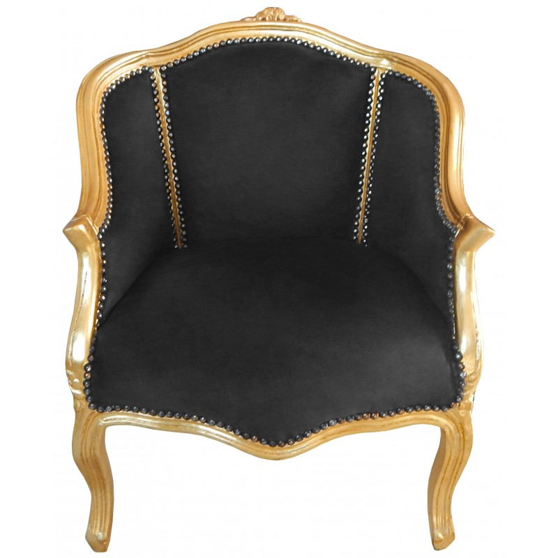 Baroque bergere armchair Louis XV style black velvet and ...