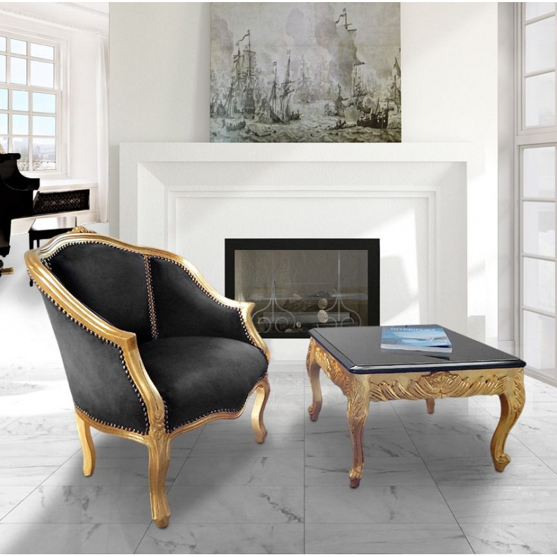 table basse carr e de style baroque en bois dor avec plateau laqu noir. Black Bedroom Furniture Sets. Home Design Ideas