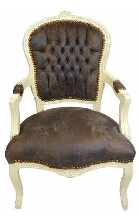 Baroque armchair of Louis XV style chocolate and beige lacquered wood