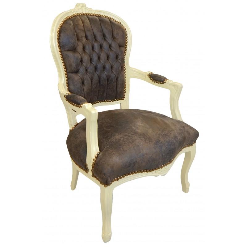 fauteuil baroque de style louis xv tissu chocolat et bois. Black Bedroom Furniture Sets. Home Design Ideas