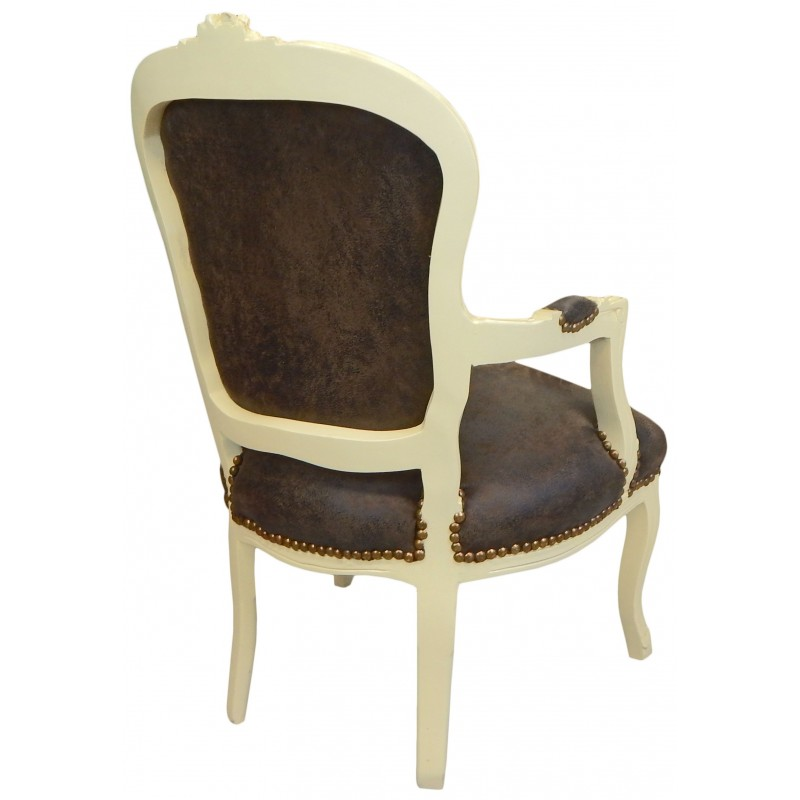 baroque armchair of louis xv style chocolate and beige