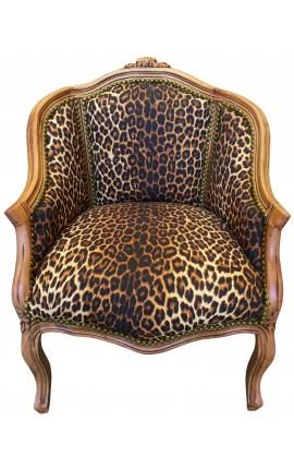 Bergère de style Louis XV léopard et bois naturel