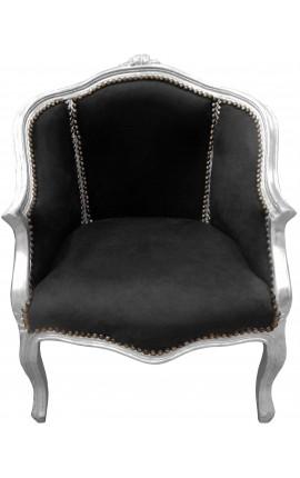 Bergère de style Louis XV tissu velours noir et bois argent