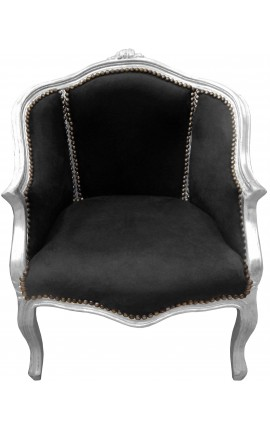 Bergere armchair Louis XV style black velvet and silver wood