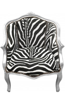 Bergere armchair Louis XV style zebra fabric and silvered wood