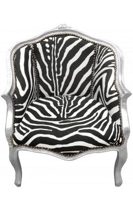 кресло Louis XV стиль с зеброй ткани и посеребренного дерева