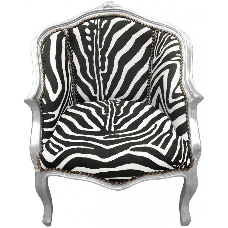 Berg re baroque de style louis xv avec tissu zebre et bois for Meuble zebre