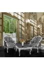 Кабриолет кресло Louis XV стиль с зеброй ткани и посеребренного дерева