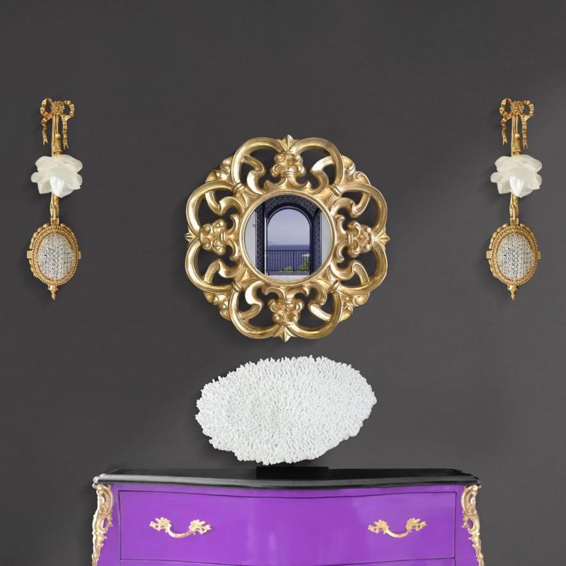 miroir baroque dor de style v nitien. Black Bedroom Furniture Sets. Home Design Ideas