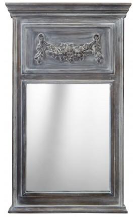 Trumeau Louis XVI bois gris patiné