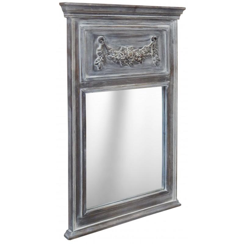 Trumeau louis xvi bois gris patin blanc for Miroir trumeau bois