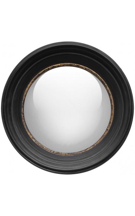 """Круглое зеркало """"ведьма"""" большой черный и золотой узор"""
