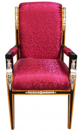 Grand Empire style armchair red satin fabric and black lacquered wood with bronze