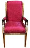 Grand fauteuil de style Empire tissu satiné rouge et bois laqué noir avec bronzes