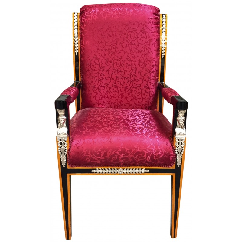 Grand Empire style armchair red satin fabric and black ...