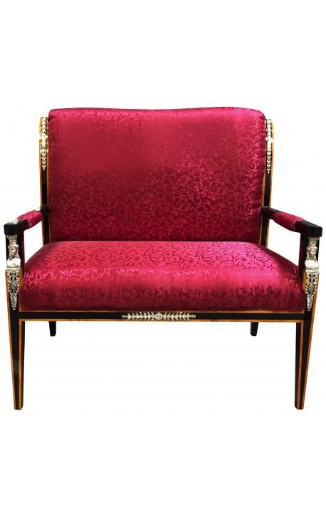 Canapé de style Empire tissu satiné rouge et bois laqué noir avec bronzes