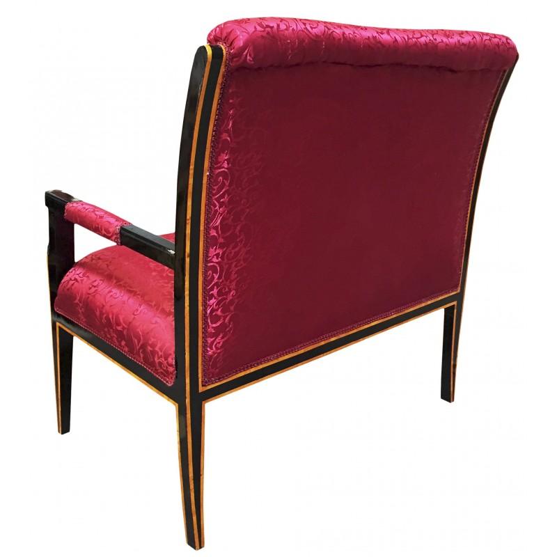 Canap de style empire tissu satin rouge et bois laqu noir avec bronzes - Canape rouge et noir ...