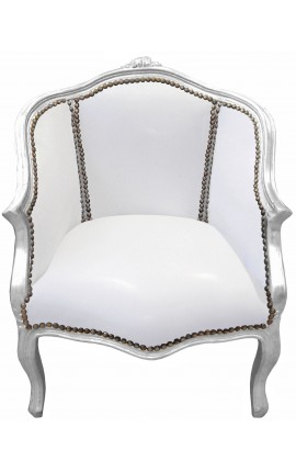 Bergere armchair Louis XV style white leatherette and silver wood