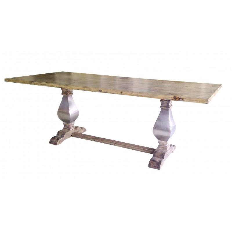 Grande table de ferme en bois naturel avec pi u00e8tement balustre en inox # Grande Table En Bois