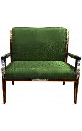 Empire style sofa green satine fabric and black lacquered wood with bronze