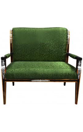 Canapé de style Empire tissu satiné vert et bois laqué noir avec bronzes