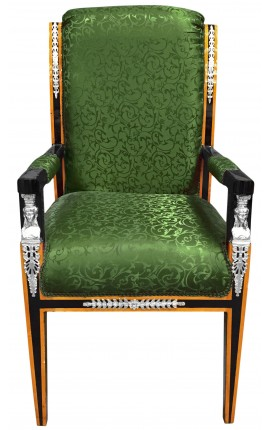 Grand Empire style armchair green satin fabric and black lacquered wood with bronze