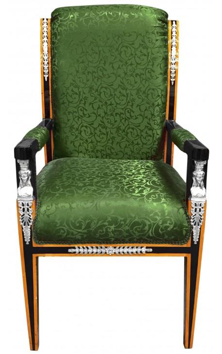 Grand fauteuil de style Empire tissu satiné vert et bois laqué noir avec bronzes