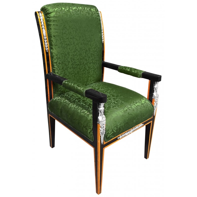 grand empire style armchair green satin fabric and black