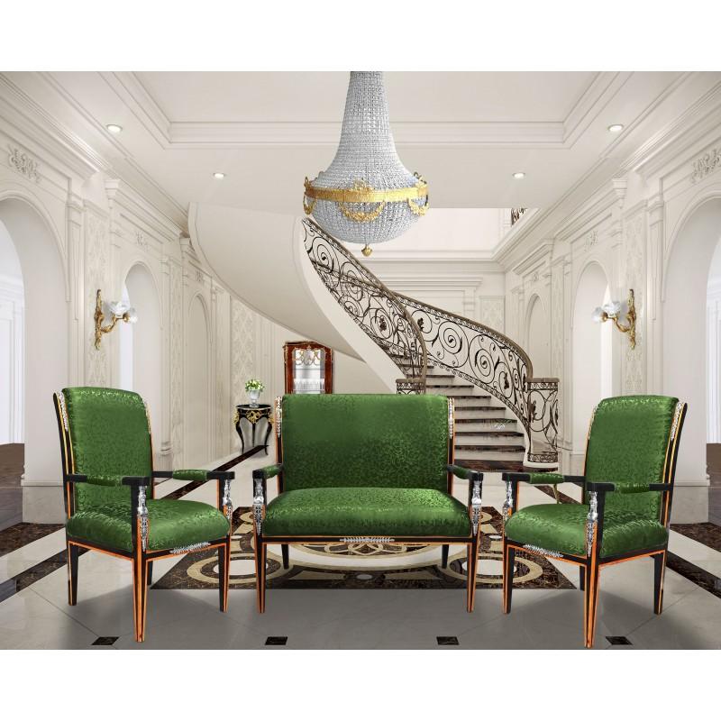 Canap de style empire tissu satin vert et bois laqu - Mobilier style empire ...