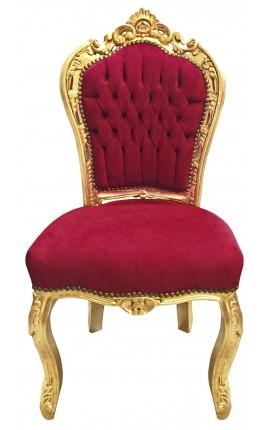 Барокко pококо стул в стиле бордовый бархат и золото дерева