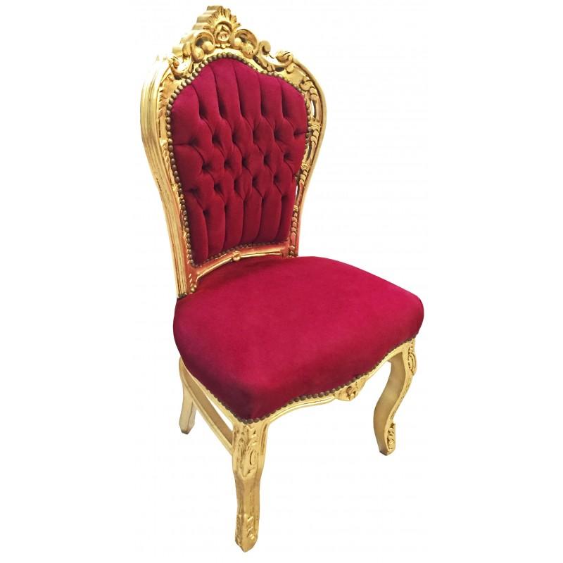 Chaise de style baroque rococo velours rouge bordeaux et - Chaise velours rouge ...